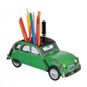 Citroen 2CV verte Pot a crayon kit en bois éco certifié