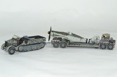 Famo sdkfz et AH116 avec avion messerschmitt 109 germany 1945