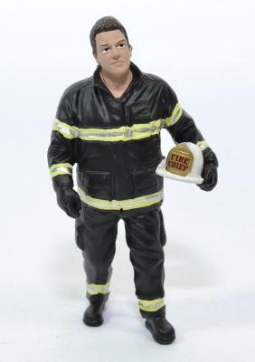 Figurine pompier américain chief casque a la main américain USA