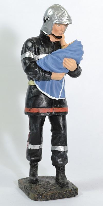 Figurine sapeur pompier sauvant bebe 20cm pom038 autominiature01