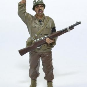 Figurine Soldat armée américaine MP avec fusil main en l'air WW2 USA