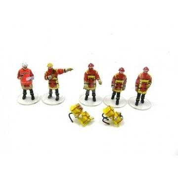 Figurines firefighters Sécurité Civile with bags