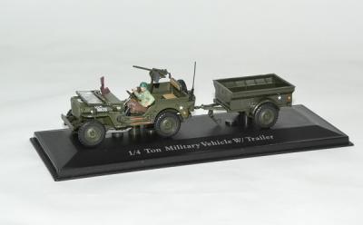 jeep willys US Army avec remorque et figurine