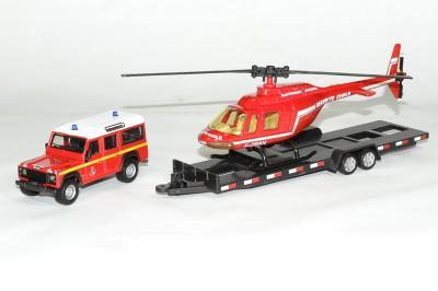 Land Rover defender 110 Sapeur Pompier avec remorque et hélicoptère Sécurité Civile rouge