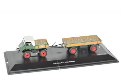 mercedes-benz U401 Unimog avec remorque et patates 750pcs