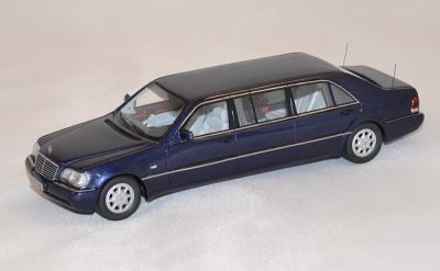 Mercedes W140 stretch limousine 600 sl pulmann blue 1998 neo 1/43