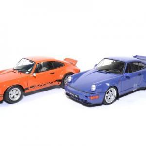 Coffret pack Porsche 911 RSR orange et 964 RS Bleu Maritime