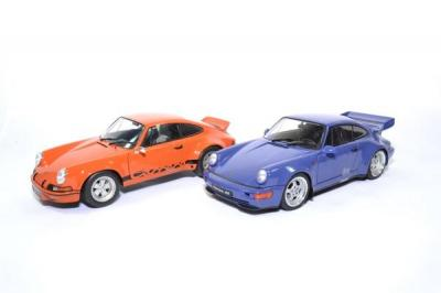 Coffret pack Porsche 911 RSR orange et 964 RS Bleu Maritime