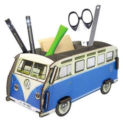 Volkswagen Combi bleu Pot a crayon kit en bois éco certifié